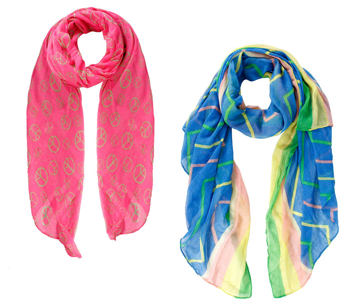 A8238-2Pck-Abstract-Scarves-NPnkGrn-AJ