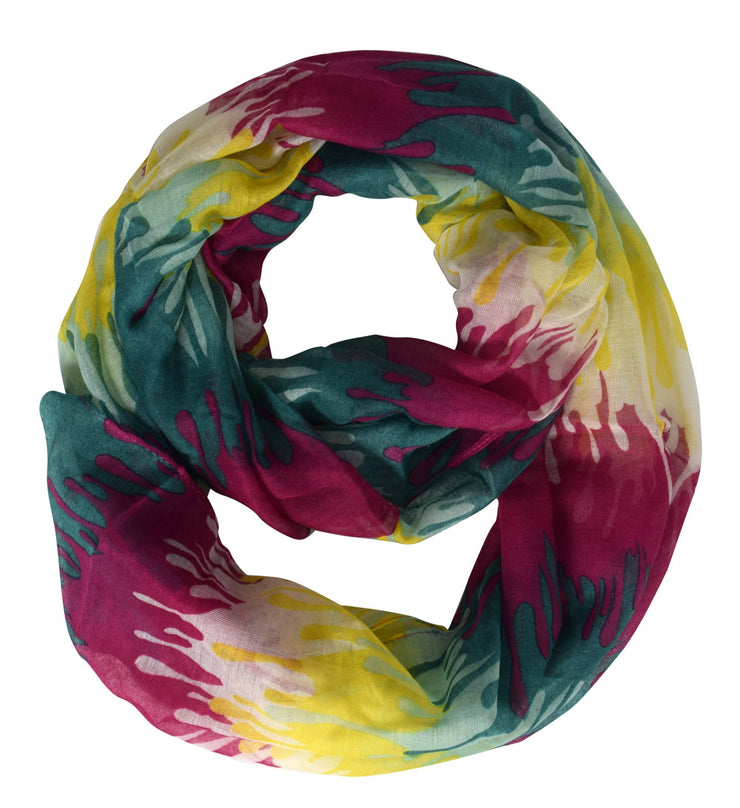 Fuchsia Yellow Peach Couture Trendy Abstract Multicolored Paint Design Infinity Loop Scarf/wrap
