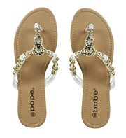 Womens Gold Chain Beaded Summer Thong Strappy Comfort Sandal