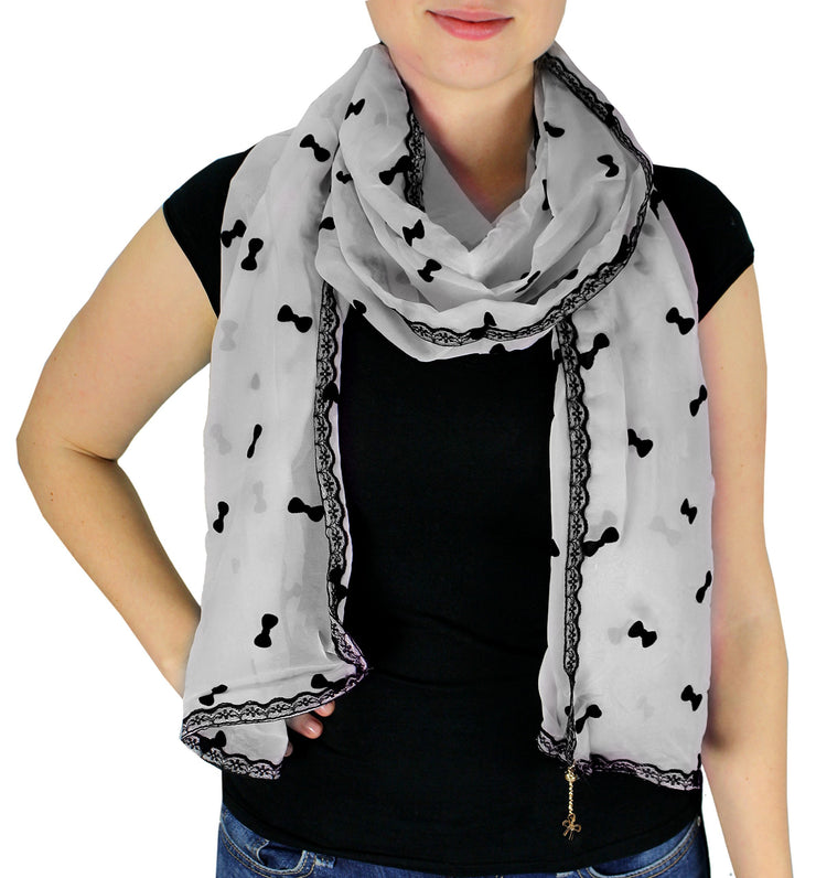 Classy & New Sheer Lace Border Wrap Scarf Stole with Gold Jewelry Charm (Grey)
