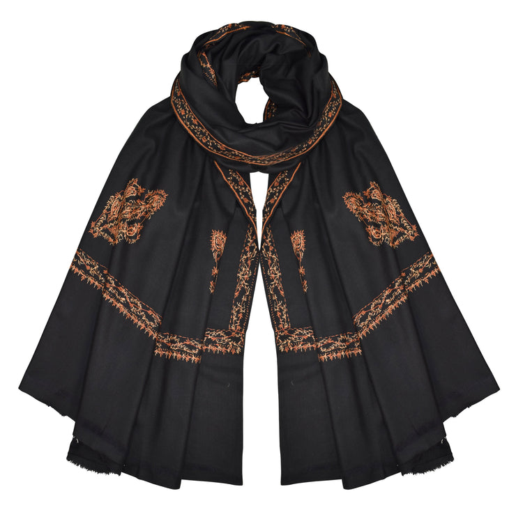 Exquisite Hand Embroidered Oversized Wool Pashmina Black