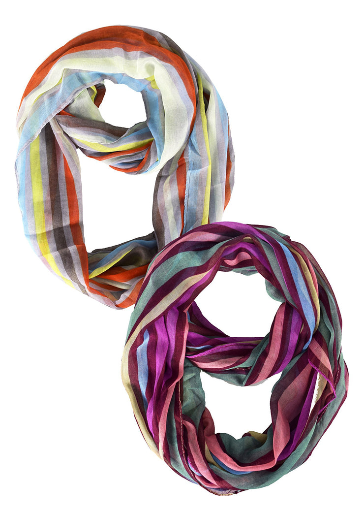2 Pack Maroon & Neon Pink Peach Couture Trendy Striped Print Light and Soft Fashion Infinity Loop Scarf