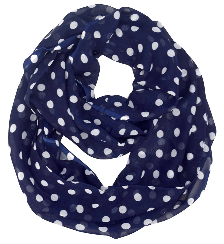 Navy Peach Couture Light and Sheer Polka Dot Circle Print Infinity Loop Scarf