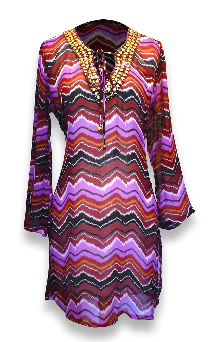 Peach Couture Bohemian Summer Tunic Beach Cover Up Dress with Embellished Neckline