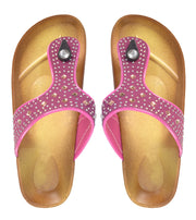 Peach Couture Womens Rhinestone Embellished Thong Flat Slides Summer Sandals