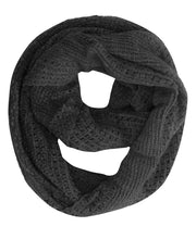 Glamorous Chic Warm Knitted Winter Snood Infinity Loop Scarf (Black)