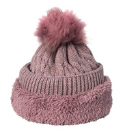 Peach Couture Oversize Cute Beanie Hat Cap Warm Hand Knit Pom Pom Double Layer Thick Winter Ski Snowboard Hat