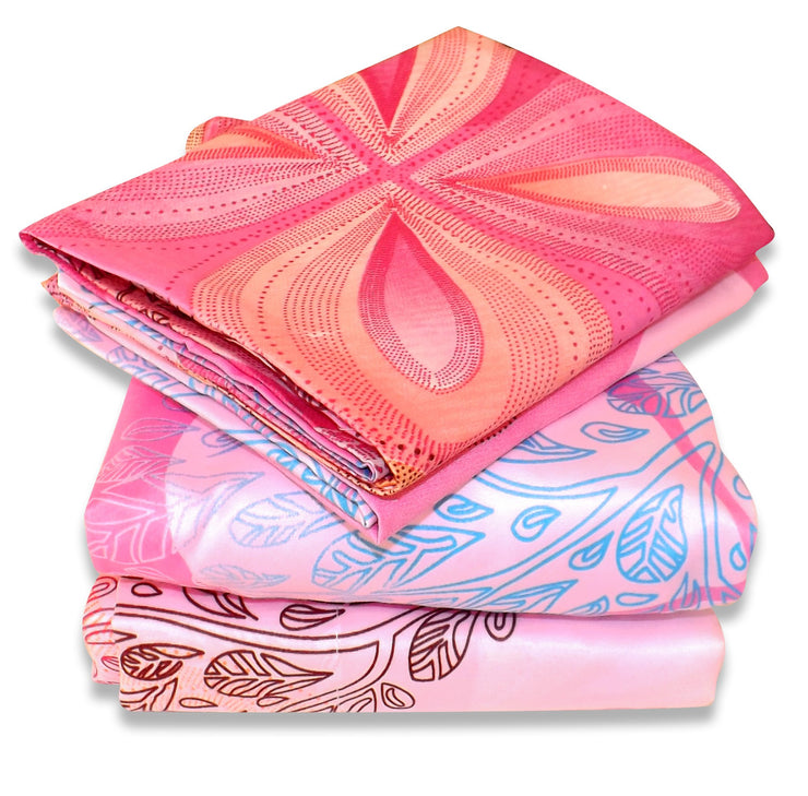 Couture Home Collection Girls Pink Tree Flower Printed Neutral Color 100 % Wrinkle Free Sheet Set-650 Thread (Pink, King)