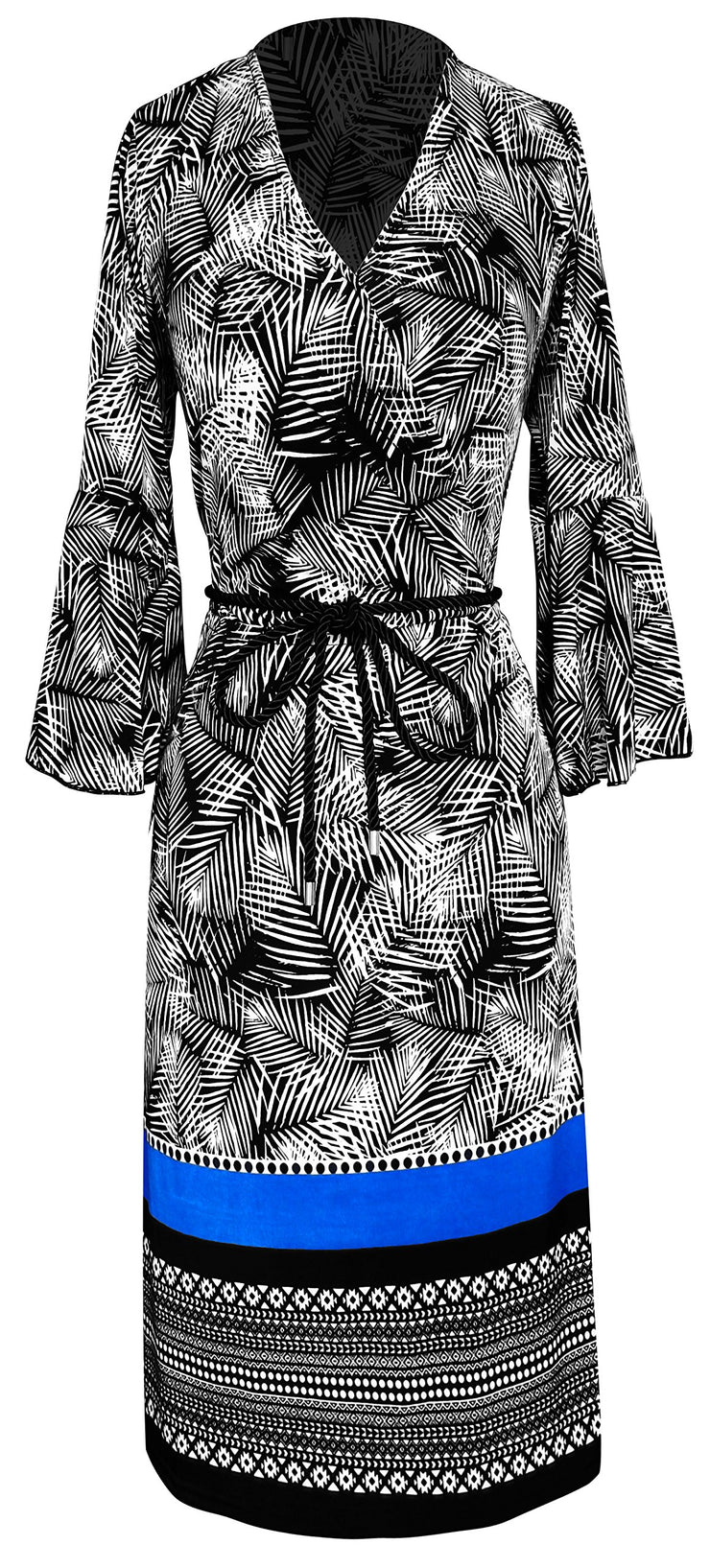 Boho Tribal Surplice Mid-Length Shift Dress With 3/4 Bell Sleeves (Large, Black & White)