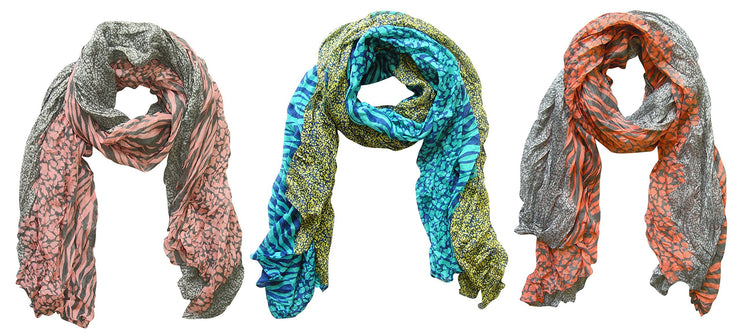 Grey/Salmon, Grey/Pink, Teal/Yellow Peach Couture All Seasons Retro Zebra and Leopard Print Crinkle Scarf