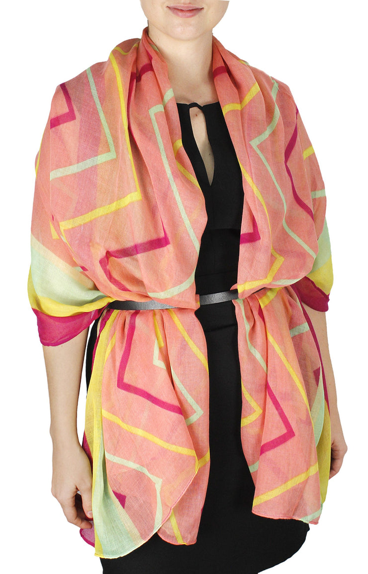 Fun Sheer Multicolored Striped Chevron Design Scarf/wrap w/Colorful Border