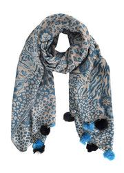 Women's Retro Style Warm Floral Animal Print Pashmina Scarf with Faux Fur Poms