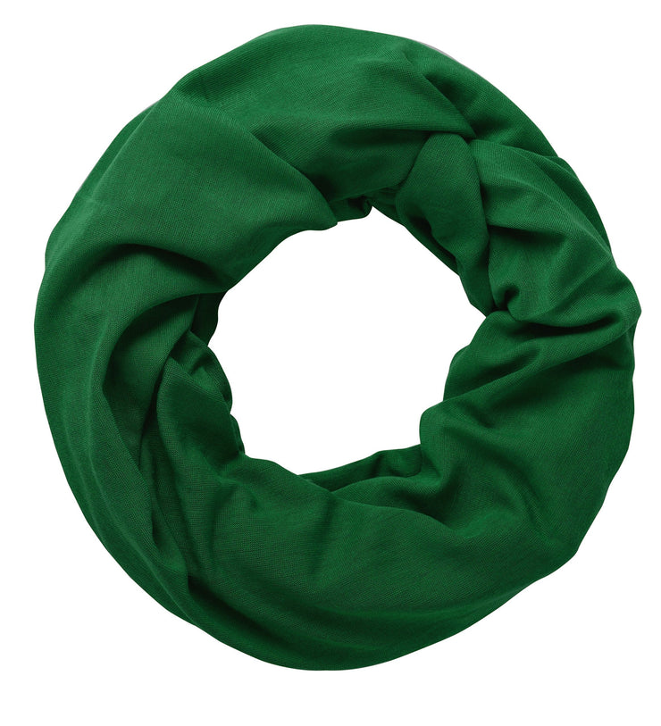 Emerald Green Peach Couture Cotton Soft Touch Vivid Colors Lightweight Jersey Knit Infinity Loop Scarf