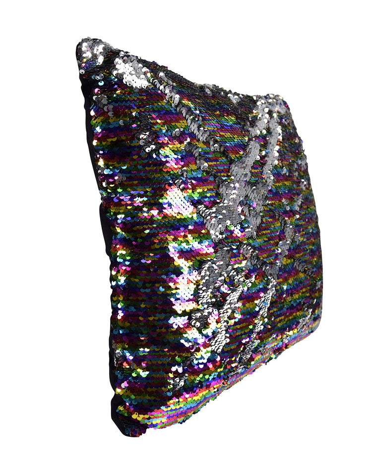 Couture Home Collection Haute Décor Reversible Sequin Decorative Color Changing Mermaid Pillow with Insert