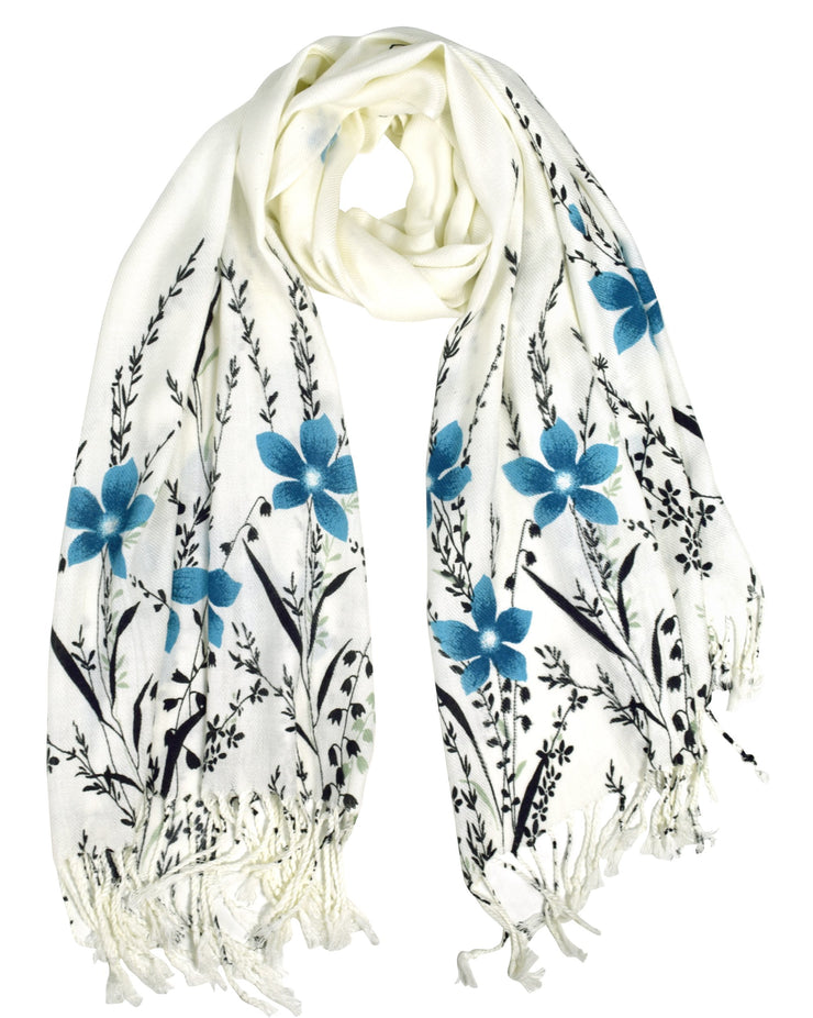 Luxury Silk Feel Floral Vine Fringe Scarf Shawl Wrap Blue