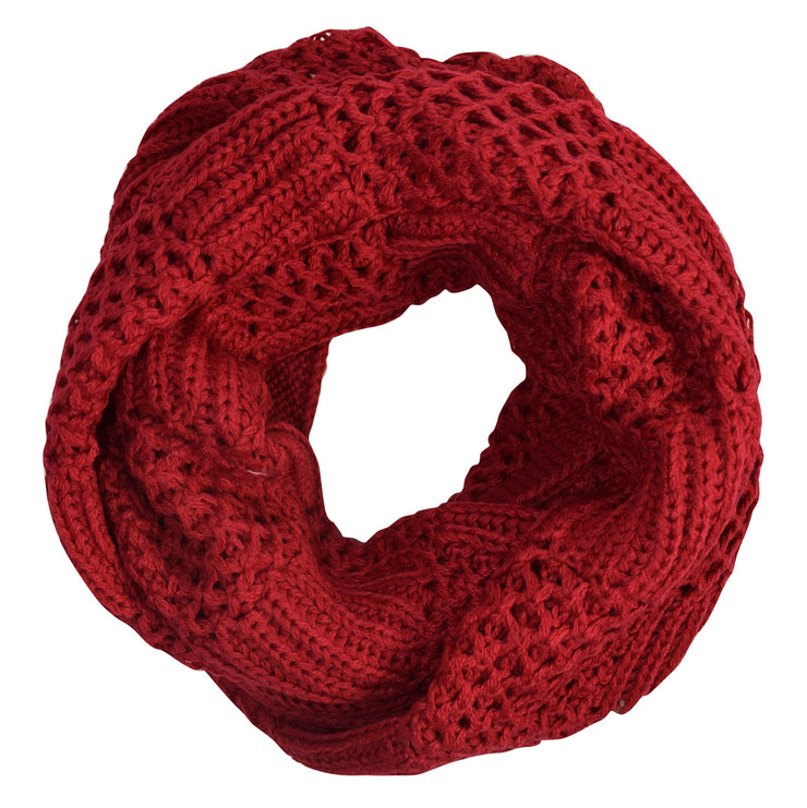 Intricately Knitted Lace Ribbon Infinity Loop Cowl Scarves