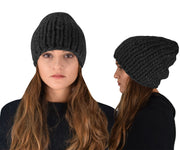 Thick Warm Soft Super Chunky Cable Knit Hat Beanie Slouchy Double Braid Stitch Black