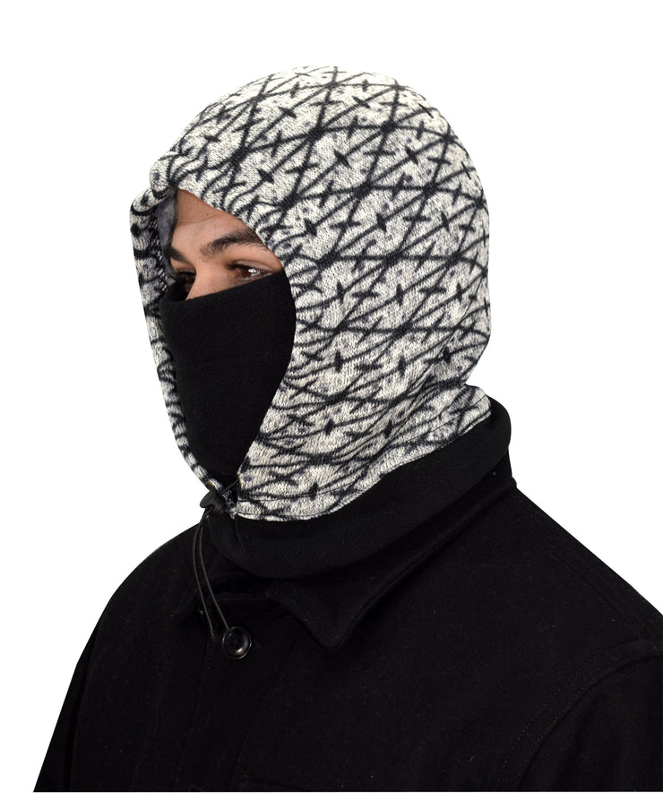 Thick Knit One Hole Facemask Balaclava Snowboarding Biker Mask (Black/White)