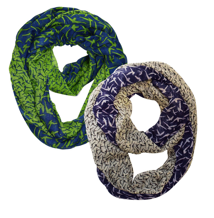 Navy Green and Navy Cream Peach Couture Beautiful Vintage Two Colored Bird Print Infinity Loop Scarf 2 pack