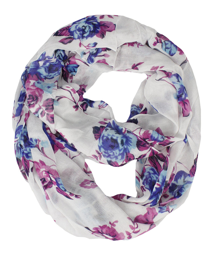 Geometric Floral Chevron Sheer Infinity Scarf Loops Circle Scarf