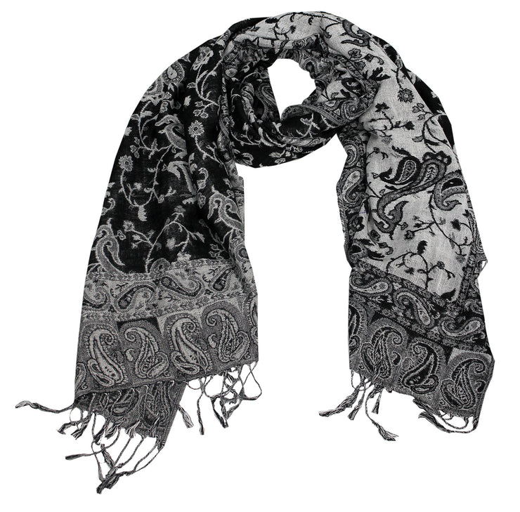 Elegant Double Layer Reversible Paisley Pashmina Shawl Wrap Black and White Scarf