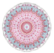 Roundie Beach Towel Yoga Mats Thick Terry Cotton with Fringe Tassels - Many Designs & Colors
