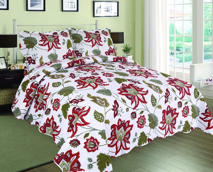 Quilt Set Coverlet Floral Pattern 100% Cotton Quilt King or Queen