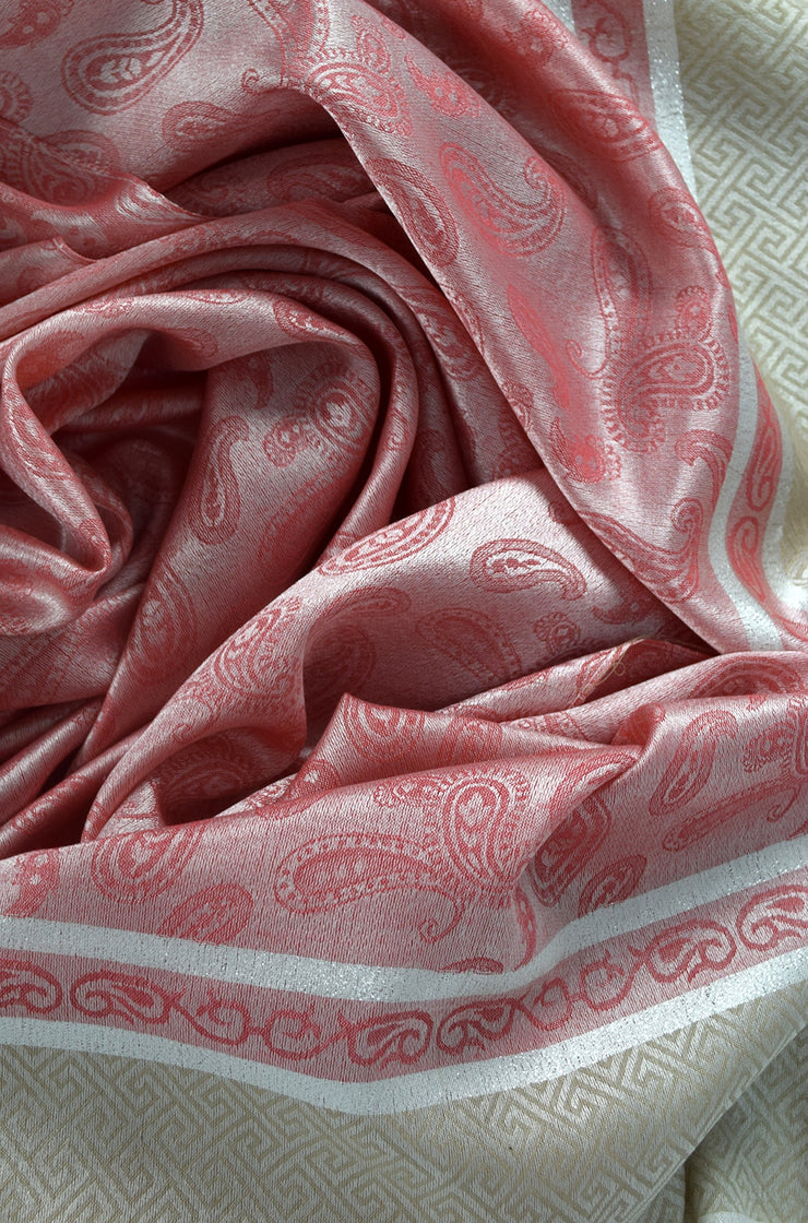 Peach Couture Exclusive Silky Shiny Tribal Paisley Printed Fringe Scarf