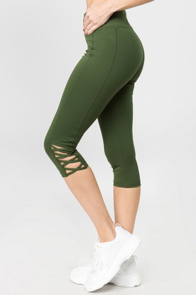 Rica Active Lattice Capri Cutout Workout Leggings