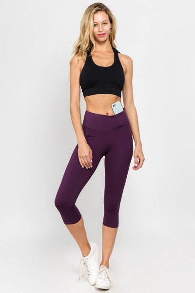 Rena Active Wear Capri Leggings w/ Hidden Waistband Pocket