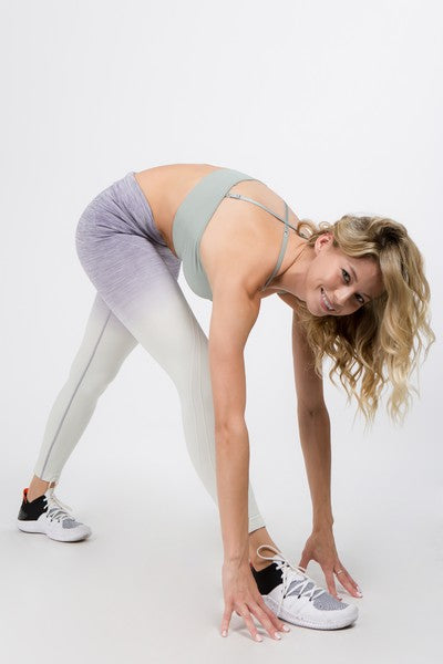 Chava Active Heather Knit Ombre Leggings w/High Waist Band