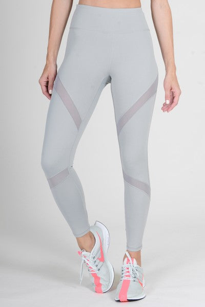 Adecyn Mesh-Panel Active Leggings with Zipper Pocket