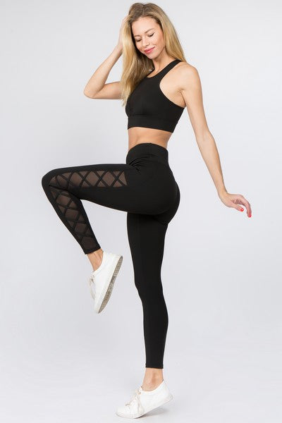 Evania Active Lace-Up Mesh Side Workout Leggings