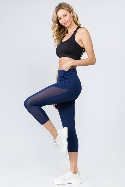 Paz Active Mesh Side Workout Capri Leggings with Pocket