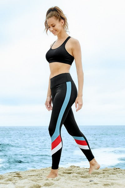 Serenity Active Triple Color Block Workout Leggings
