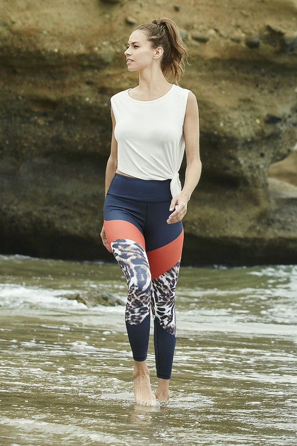 Dahlia Active Colorblock Cheetah Print Workout Leggings