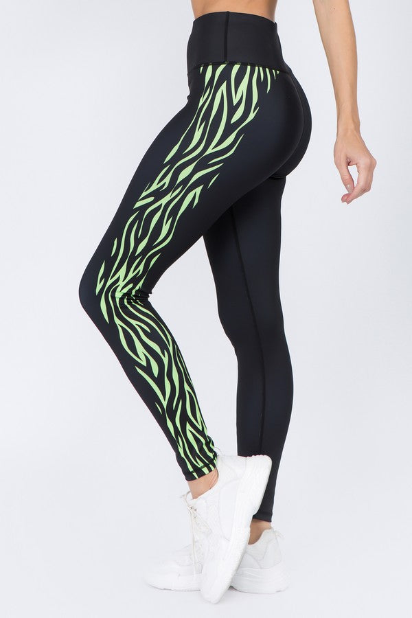 Kama Active Zebra Side Striped Leggings