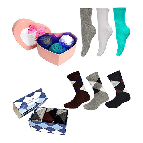 Valentines Day Boxed 3-Pack Luxury Socks Bouquet Gift Set
