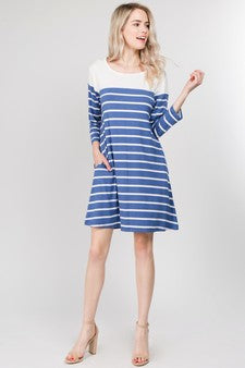 Diana Striped Two-Pocket Swing Dress