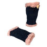 Women's Classic Cable Knitted Hand Warmer Gloves with Sherpa Fur Lining