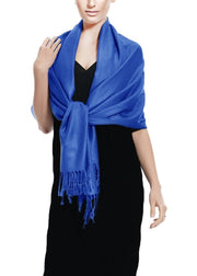 Blue Couture Soft Silky Rayon Pashmina Shawl Wrap Scarf in Solid Color