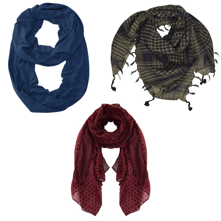 Assorted Pack Of 3 Scarves