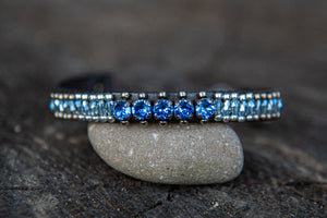 Leather wrap/snap Blue Crystal/Silver bead bracelet by LaHola
