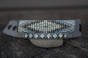 Silver Snake Leather Tribal Pattern Gold/Grey Snap Closure bracelet by LaHola