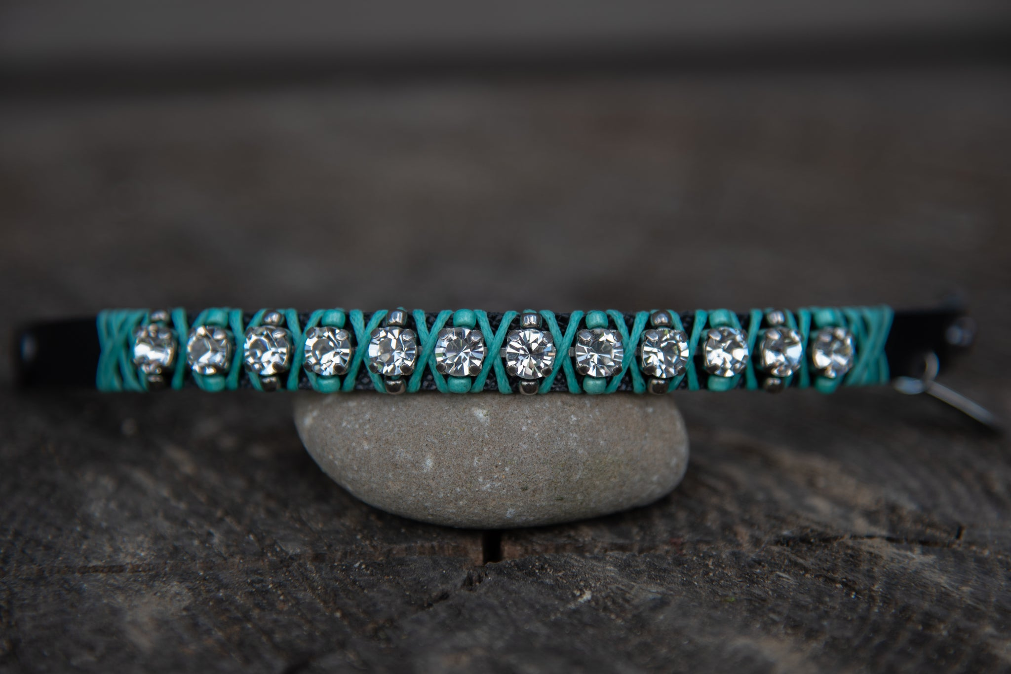 Turquoise Clear Stone Leather snap bracelet by LaHola