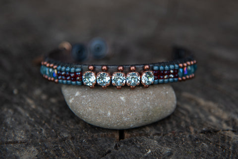 B-45/1671 Grey/brown leather multi colored beaded light blue crystal stones snap closure bracelet by LaHola
