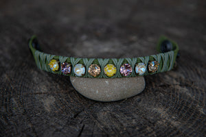 Green Leather Yellow/Wht.Opal/Champagne crystals snap closure bracelet by LaHola