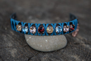 Blk Leather BlueString/Gold/Lt.Blue/Burgundy/Champaigne crystal snap bracelet by LaHola