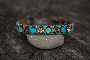Tan snake skin leather Turquoise/Pacific Opal/Gold stone snap closure bracelet by LaHola