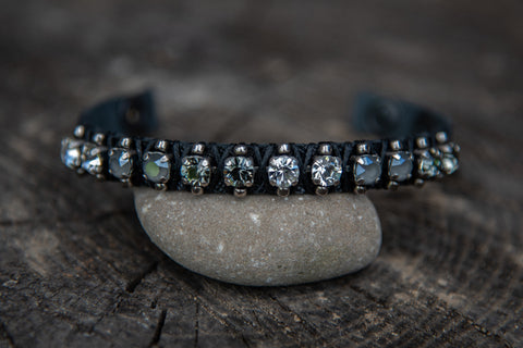 Blk leather clear/grey crystal stones snap closure bracelet by LaHola